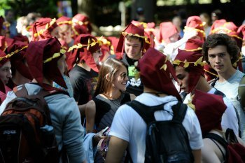 Dante Now! Students surround a fellow Notre Dame colleague as they read Dante