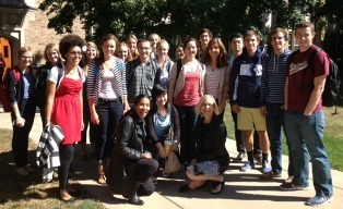 French writer Bessora with Professor Alison Rice and ND students