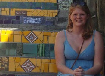 Study abroad student, Casey, enjoys Escadaria Selarón; mosaic steps by artist Jorge Selarón of the neighborhood Lapa in Rio de Janeiro