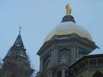 Golden Dome atop the Main Building and Cross of the Bascilica of the Sacred Heart