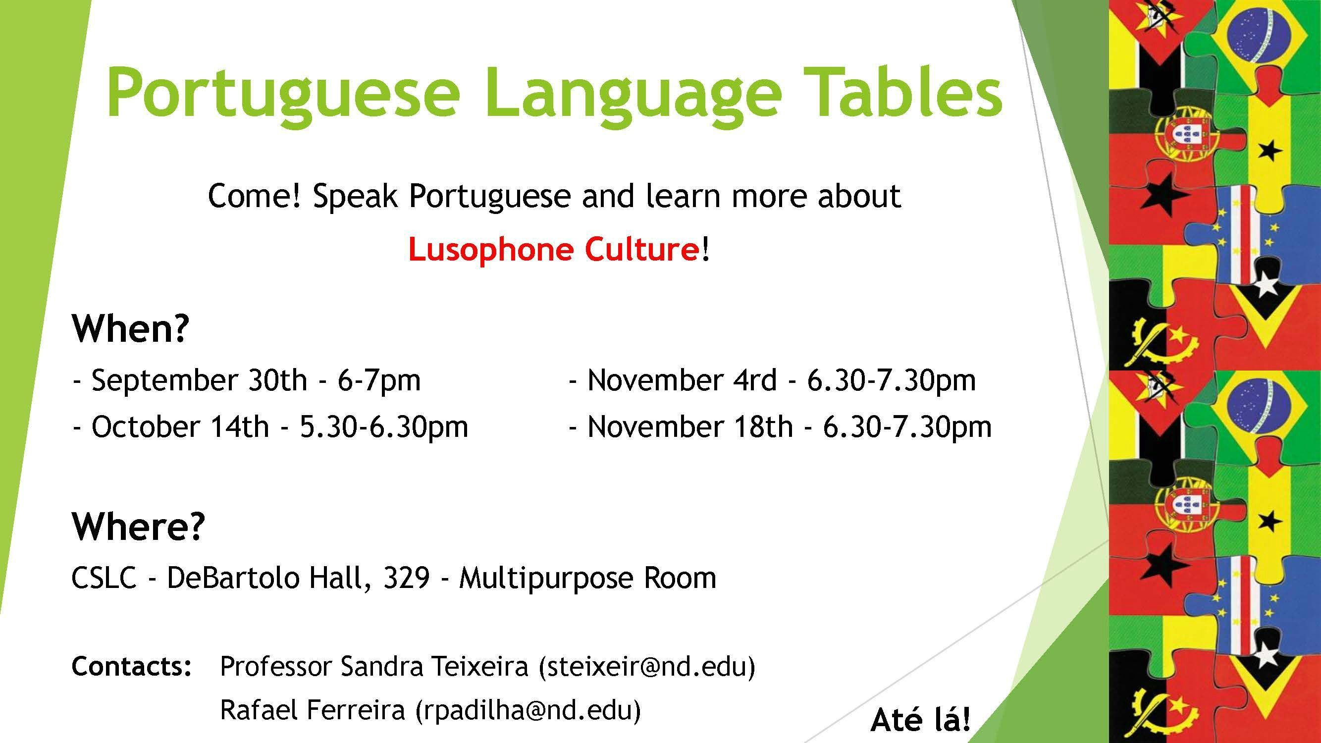 Portuguese Language Tables