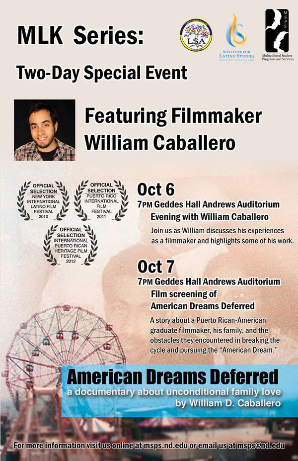 Two Day Special Event Filmmaker William Caballero