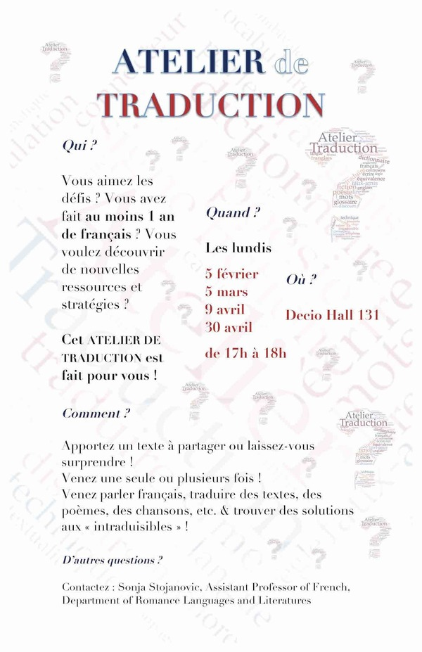 Atelier Traduction Spring 2018