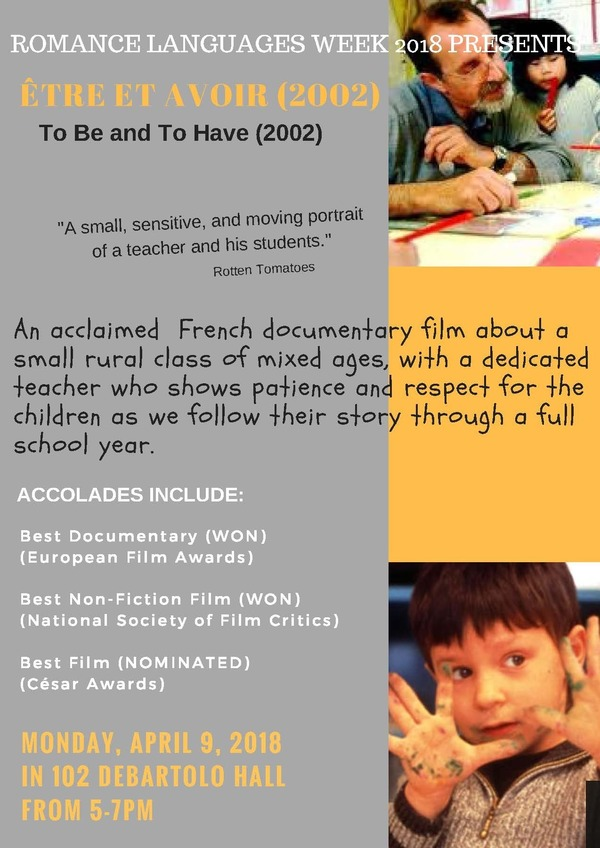 Romance Languages Week 2018 French Film