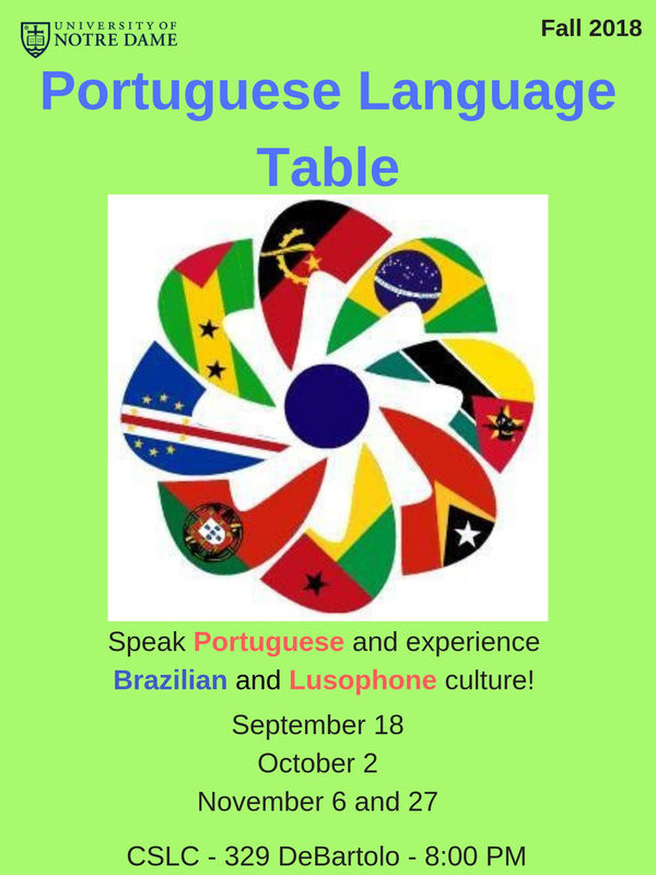 Portuguese Language Table