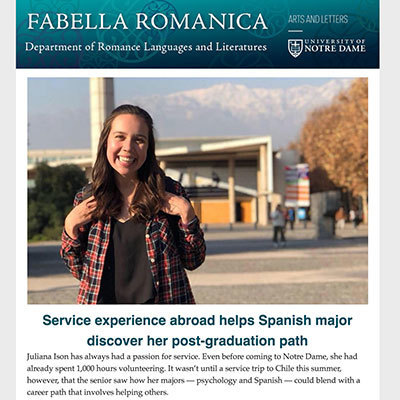 Department of Romance Languages and Literatures Fall 2018 Newsletter preview